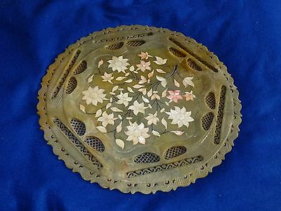 Rare antique Chinese carved hard stone / Jade tray with mother of pearl