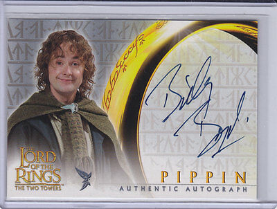 LORD OF THE RINGS: TWO TOWERS - BILLY BOYD (Pippin) Topps autograph trading card