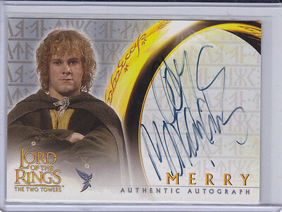 LORD OF THE RINGS: TWO TOWERS - DOMINIC MONAGHAN (Merry) Topps auto trading card