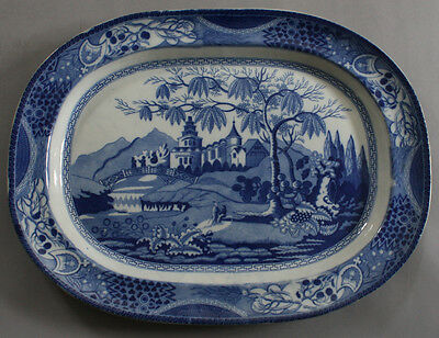 Antique Pottery Pearlware Blue Transfer Castle & Bridge Chinoiserie Platter 1815