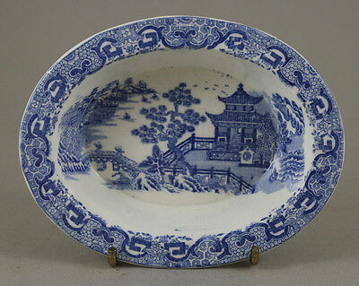 Antique Pottery Pearlware Blue Transfer Spode Flying Pennant Small Pate Pan 1810