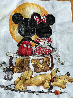 Disney cross stitched completed  tapestry picture -beautifuuly done
