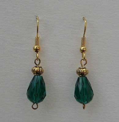 SMALL FACETED sea green GLASS DROP EARRINGS WITH GOLD PLATED DETAIL ...HOOK