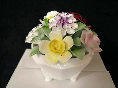 Royal Doulton Rose Bowl Basket Hand Made / Painted Flowers In English Bone China