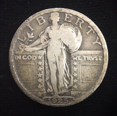 1925 25 Cent Standing Liberty Silver Quarter Older U.S. Collectible Coin