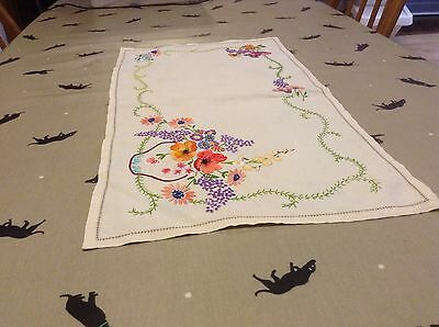 Vintage Stunning Heavy Hand Embroidered Tray Cloth