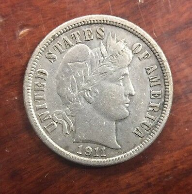 1911 10 Cent Barber Silver Dime Early U.S. Collectible Coin