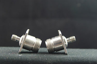 Two Type N to SMA Female Panel Mount RF Microwave Connector Adapters