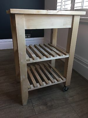 IKEA Bekvam kitchen island/trolley/butcher's block with 2 rails, storage shelves
