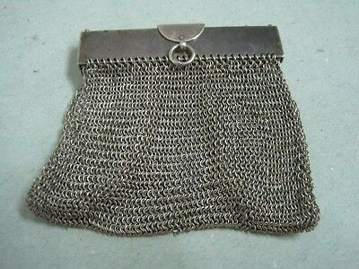 Antique Silver Chain Mail Mesh Lady Coin Purse (3)