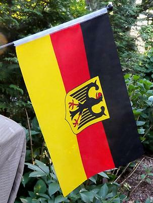 "Germany National Flag w/ Coat of Arms - Bundesflagge mit Bundeswappen - 17""x11"""