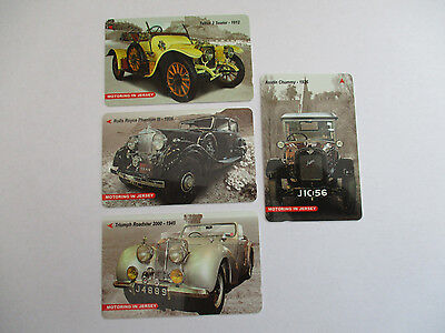 Jersey Phonecards - Jersey Motoring set of 4 used cards in very good condition