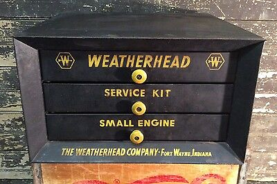 Vtg 50s WEATHERHEAD PARTS CABINET CASE DISPLAY GAS SERVICE STATION Advertising