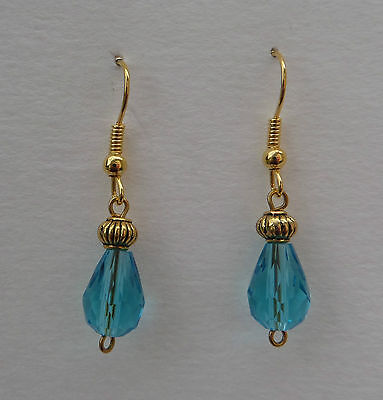 Small Faceted Turquoise Glass Drop Earrings With Gold Plated Detail ...hook