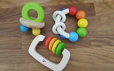Set of wooden baby clutching toys and teethers; Plan and Haba