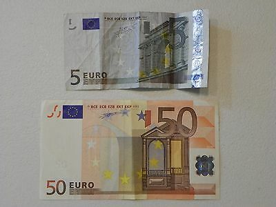 CURRENCY Circulated EURO Lot 2 €5.00 & €50.00 BANK NOTES Signed Five Fifty 2002