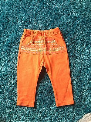 Girls Zara Coral/Red Aztec Details Trousers 9-12 Months