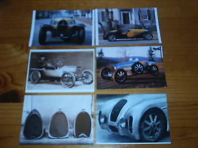 Six Bugatti Automobile Postcards. Car. Voiture.