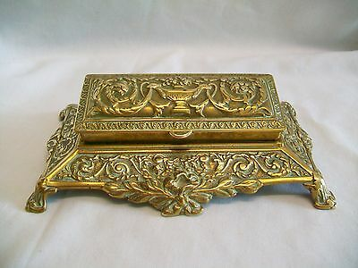 Large Vintage Brass Stamp Box Antique French Rococo Style Desk Top 5 Compartment