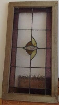 ARCHITECTURAL ANTIQUE STAINED GLASS WINDOW PANEL 36 x 19