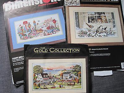 3 Counted Cross Stitch Patterns Only - Dimensions - Garden/birds/cosy Cove