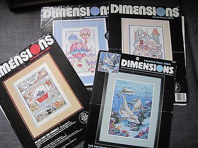 4 Counted Cross Stitch Patterns Only - Noah's Ark/dollhouse/balloon/dolphins
