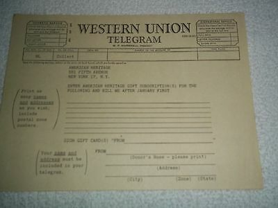 Vintage Western Union Telegram W. P. Marshall President Late 50's Early 60's