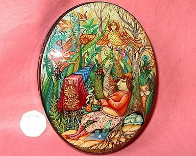 Russian LACQUER Box Kholui HAND PAINTED Jewellery MAGIC PHOTOGRAPHER Sirin Bird