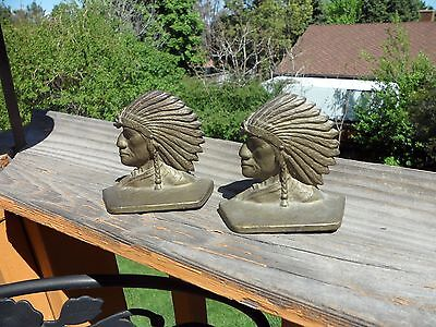 Art Deco Small Cast Iron Indian Bookends Or Mail Holder Sgnd A.c.w. Co.