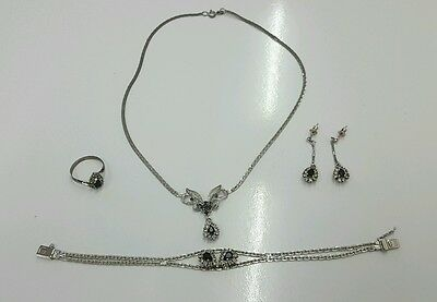 Silber 835 Collier Saphir Set