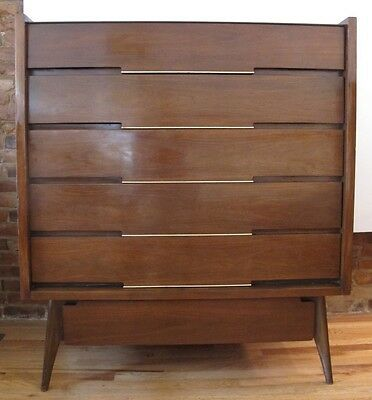 MID CENTURY WALNUT TALL DRESSER by HOKE danish modern chest of drawers high boy