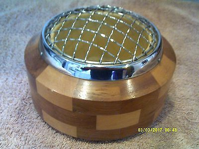Lancraft Chequered Wooden Rose Bowl With Chrome Wire Mesh & Lining