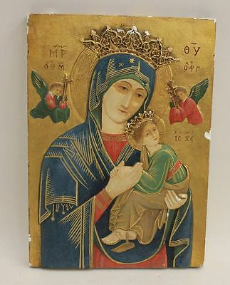 Old Antique Catholic Christian Icon Madonna & Child Plus Angels Plaque Art