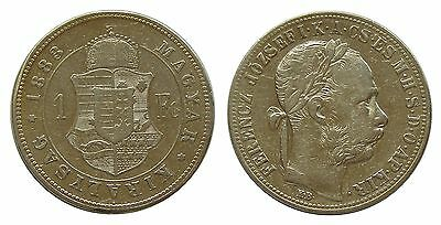 a931 Hungary 1 Forint 1883 KM#469 silver coin Ungarn VF
