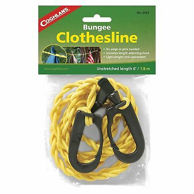 Coghlan's Bungee Clothesline Pegless w/Carabiner Clips Laundry Drying Line