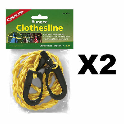 Coghlan's Bungee Clothesline Pegless w/Carabiner Clips Laundry Drying (2-Pack)