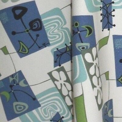 "1 Yard Jetsons Retro ""DADDY-0"" Blue Cotton Dobby Barkcloth Fabric"