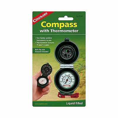 Coghlan's Compass Thermometer Liquid Filled w/Luminous Dial Lanyard & Belt Clip