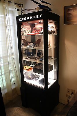 Large Oakley Display Case - Black with Built in Light and Shelves MPU