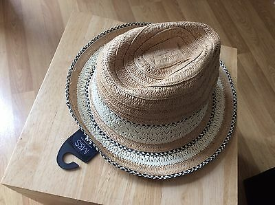 Ladies Marks & Spencer's Summer Straw Hat Trilby Style, Size S/M
