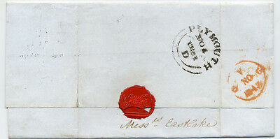 GB QV delightful cover Plymouth-London 1843, 2d Blue of 1841 tied with fine MX