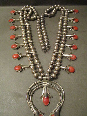 Old Pawn Navajo Squash Blossom Silver And Coral Necklace