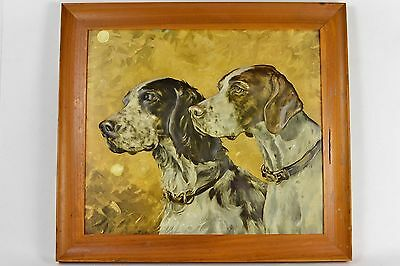 Raised Panel Picture of Spaniel Dogs Vintage