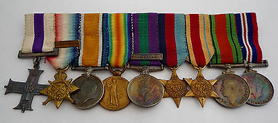 Ww1 / Ww2 Period Military Cross 1914 Star & Bar Trio Miniature Medal Group Of 9