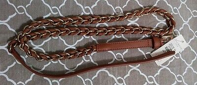 NWT New Talbots Womens Tan leather Gold Chain Loop Braided Belt Size L Large