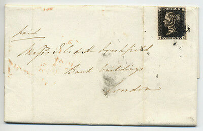 GB Nice 1841 1d Black Entire Letter Brighton to London -sound 3 margin adhesive