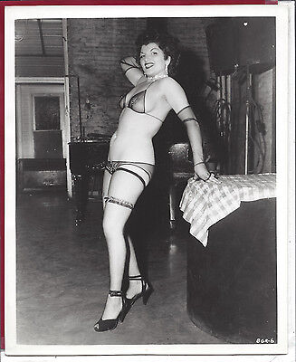 1950 Vintage Risque/Nude Photo~Burlesque Showgirl Pinup Dancing Stripper Fishnet