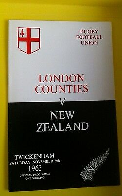 London Counties v New Zealand Rugby Union Programme 9th Nov 1963