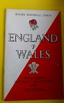 England v Wales Rugby Union Programme 15th Jan 1966