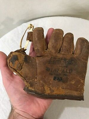 RARE MINI Early 1900 SALESMAN SAMPLE Baseball Glove Winfield Mitt Antique VTG